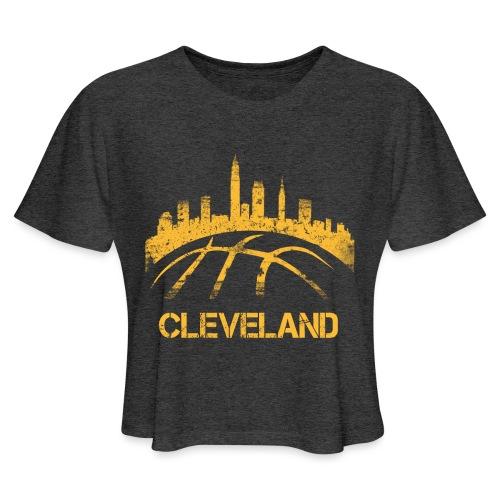 Cleveland Basketball Skyline - Women's Cropped T-Shirt