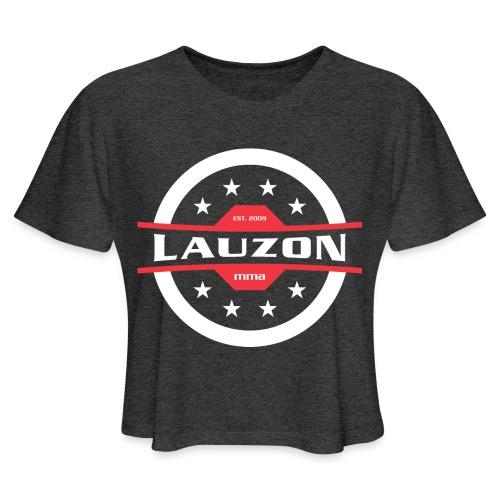 White on Black Lauzon MMA Logo w No Words - Women's Cropped T-Shirt