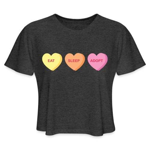 Eat Sleep Adopt-front - Women's Cropped T-Shirt