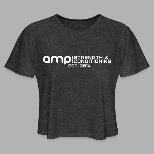 AMP Long Logo EST WHT - Women's Cropped T-Shirt