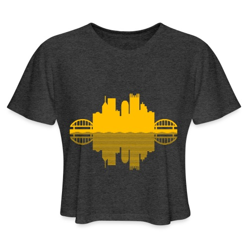 Pittsburgh Skyline Reflection (Gold) - Women's Cropped T-Shirt
