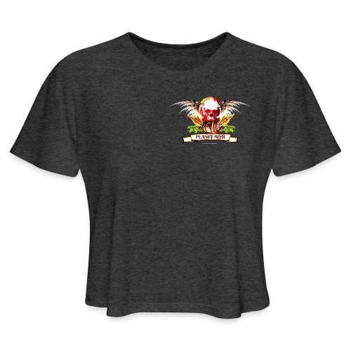 Planet Beer Skull & Keg Gothic Color - Women's Cropped T-Shirt