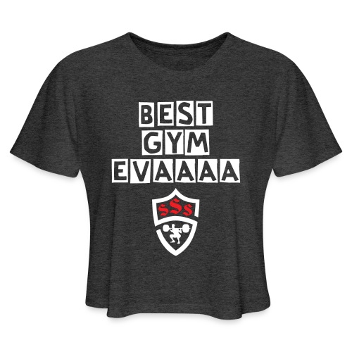 Best Gym Evaaa White and Red - Women's Cropped T-Shirt