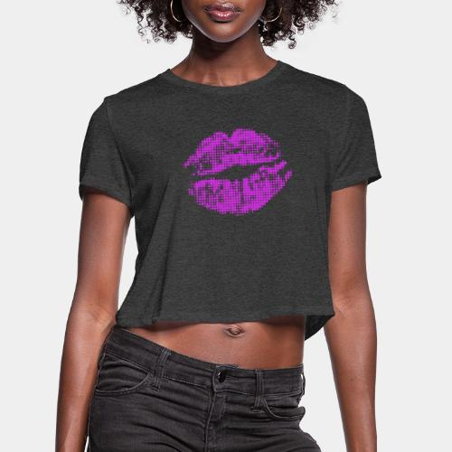 kiss mouth halftone pop - Women's Cropped T-Shirt