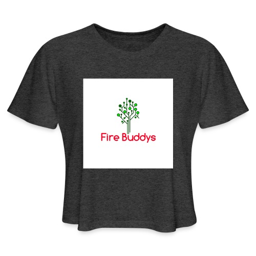 Fire Buddys Website Logo White Tee-shirt eco - Women's Cropped T-Shirt