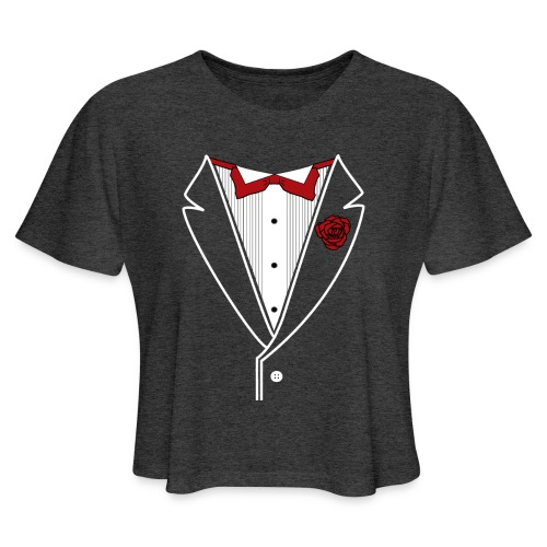 Tuxedo with Red bow tie - Women's Cropped T-Shirt