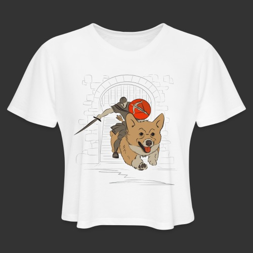 A Corgi Knight charges into battle - Women's Cropped T-Shirt