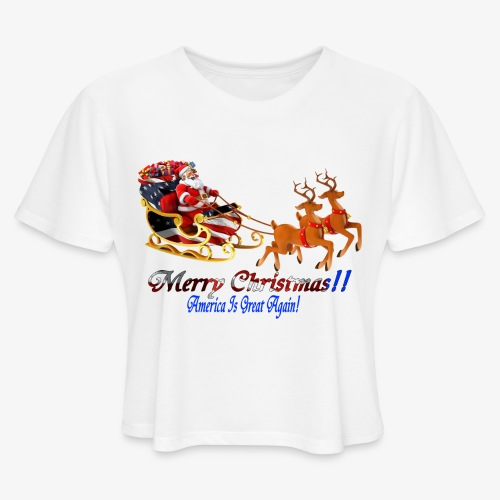 Merry Christmas-America - Women's Cropped T-Shirt