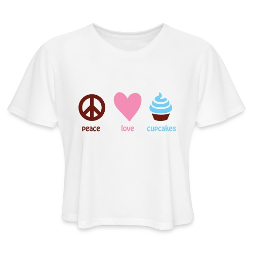 peacelovecupcakes pixel - Women's Cropped T-Shirt