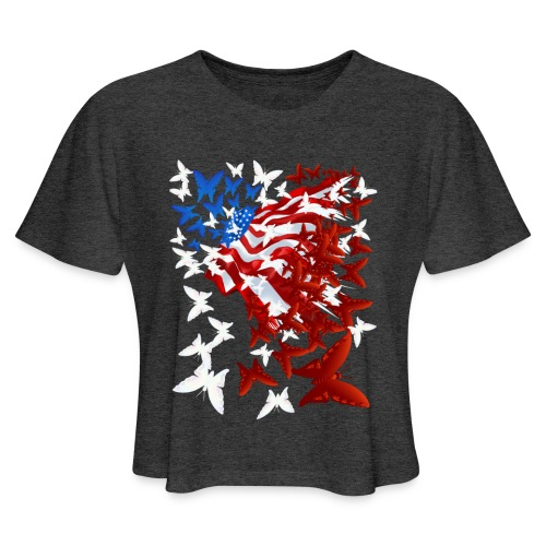 The Butterfly Flag - Women's Cropped T-Shirt