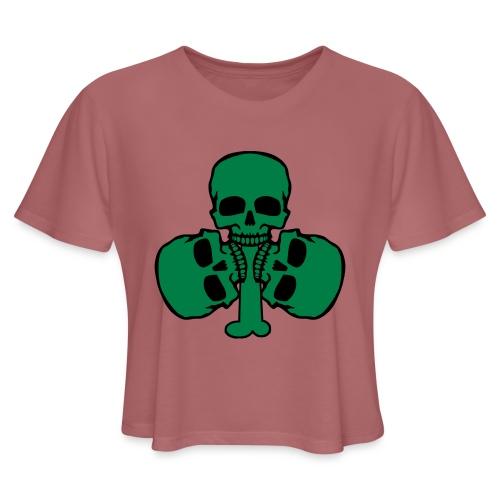 Skull Shamrock w/ Teeth - Women's Cropped T-Shirt