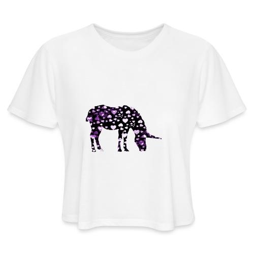 Unicorn Hearts purple - Women's Cropped T-Shirt