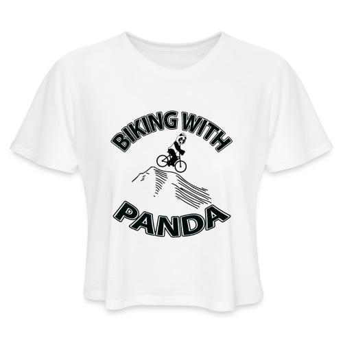 Biking with Panda - Women's Cropped T-Shirt