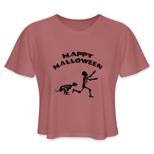 Halloween Boy and Dog - Women's Cropped T-Shirt