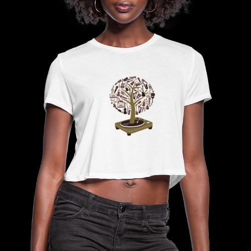 Turntable Tree of Music - Women's Cropped T-Shirt
