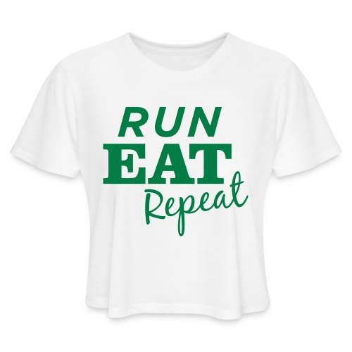 Run Eat Repeat buttons medium - Women's Cropped T-Shirt