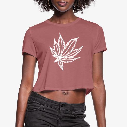 white leaf - Women's Cropped T-Shirt