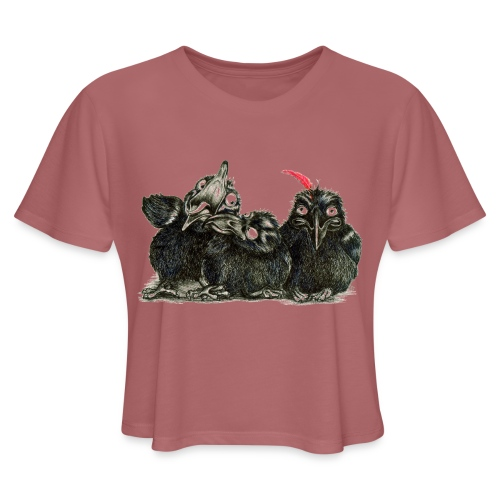 Three Young Crows - Women's Cropped T-Shirt