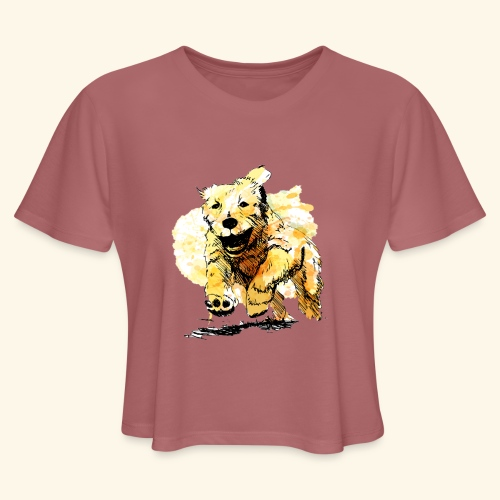 oil dog - Women's Cropped T-Shirt