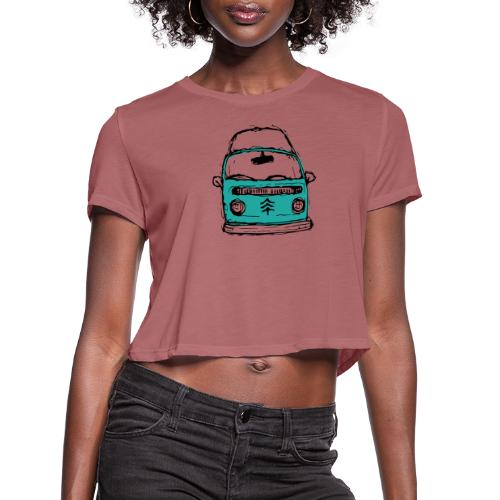 Living The Life In A Hippie Bus - Women's Cropped T-Shirt