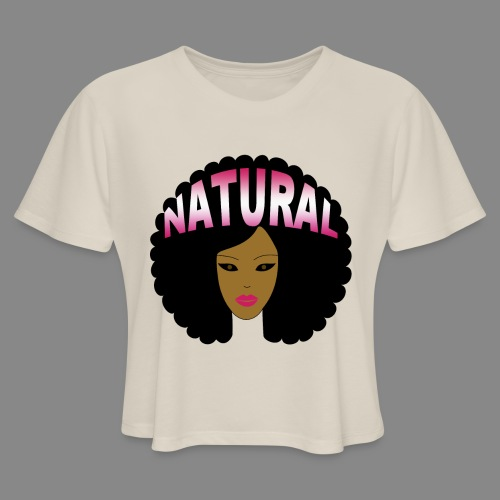 Natural Afro (Pink) - Women's Cropped T-Shirt