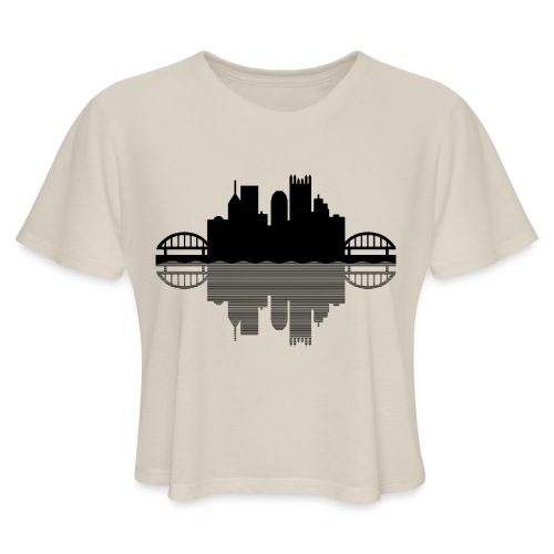 Pittsburgh Skyline Reflection (Black) - Women's Cropped T-Shirt