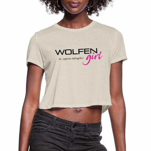 Front/Back: Wolfen Girl on Light - Adapt or Die - Women's Cropped T-Shirt