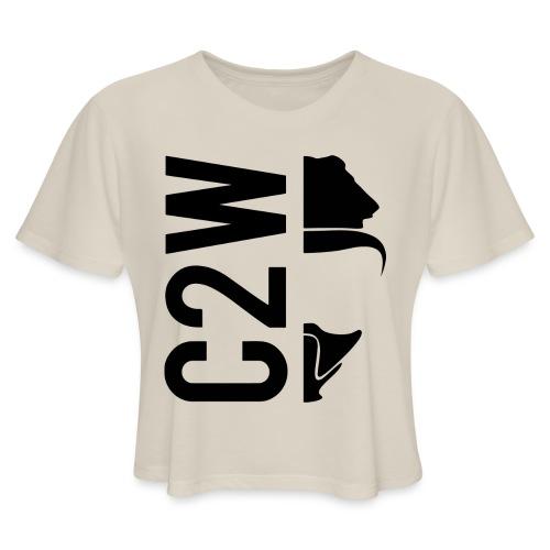 C2W Split Logo - Black - Premium Tee - Women's Cropped T-Shirt