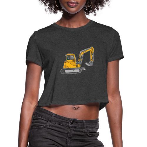 Yellow digger, excavators - Women's Cropped T-Shirt