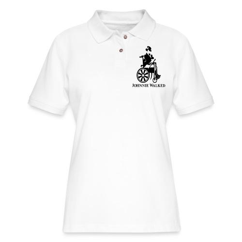 Johnnie Walked, Wheelchair fun, whiskey and roller - Women's Pique Polo Shirt