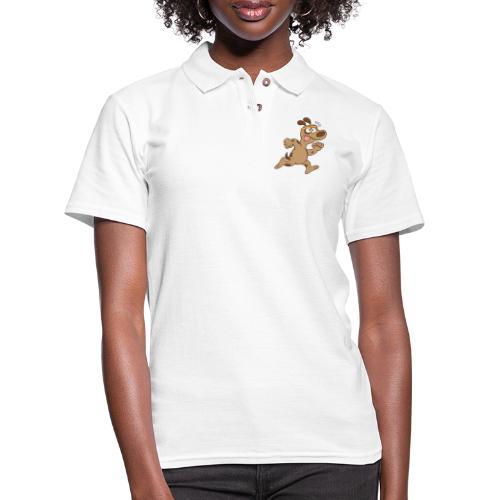 Chubby brown dog feeling tired when running - Women's Pique Polo Shirt