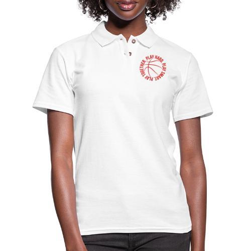 play smart play hard play together basketball team - Women's Pique Polo Shirt