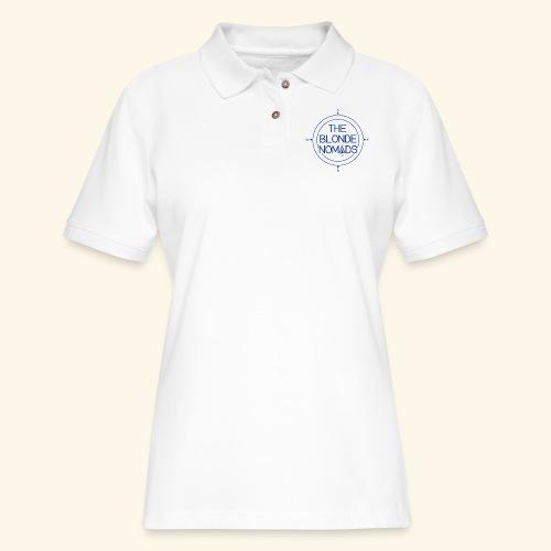 The Blonde Nomads Blue Logo - Women's Pique Polo Shirt