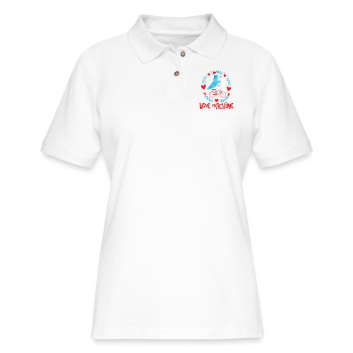 Cute Love Machine Bird - Women's Pique Polo Shirt