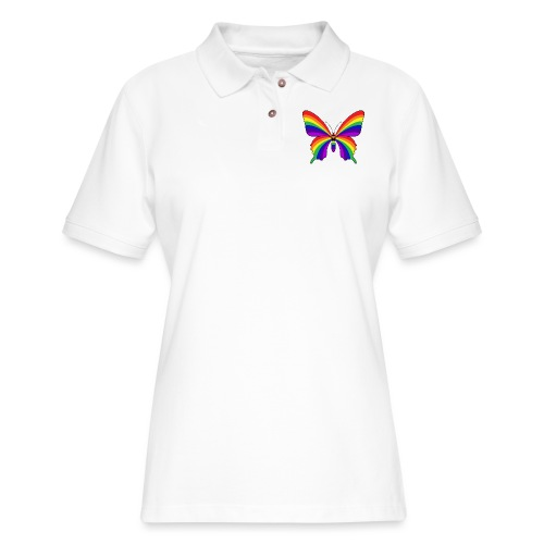 Rainbow Butterfly - Women's Pique Polo Shirt