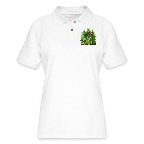 EARTHDAYCONTEST Earth Day Think Green forest trees - Women's Pique Polo Shirt