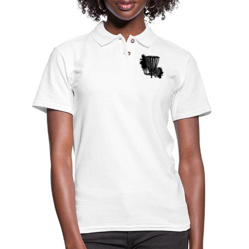 Disc Golf Basket Paint Black Print - Women's Pique Polo Shirt