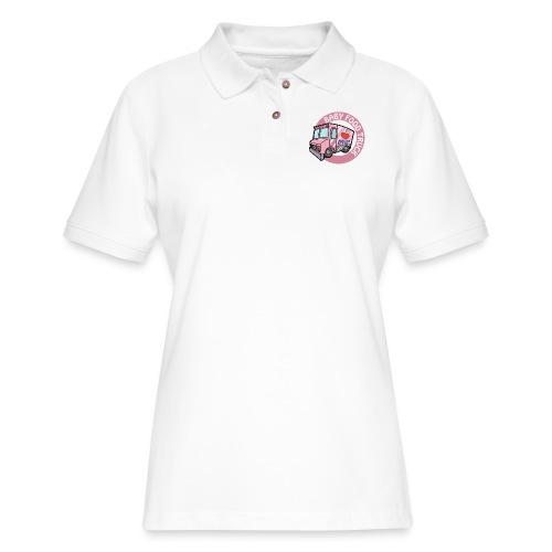 Pink baby food truck - Women's Pique Polo Shirt
