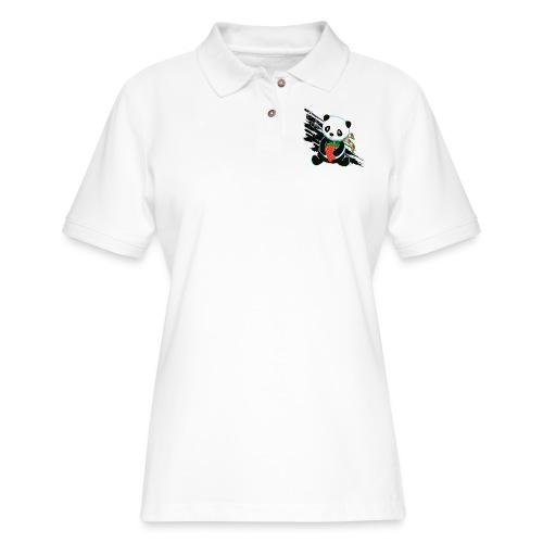 Cute Kawaii Panda T-shirt by Banzai Chicks - Women's Pique Polo Shirt