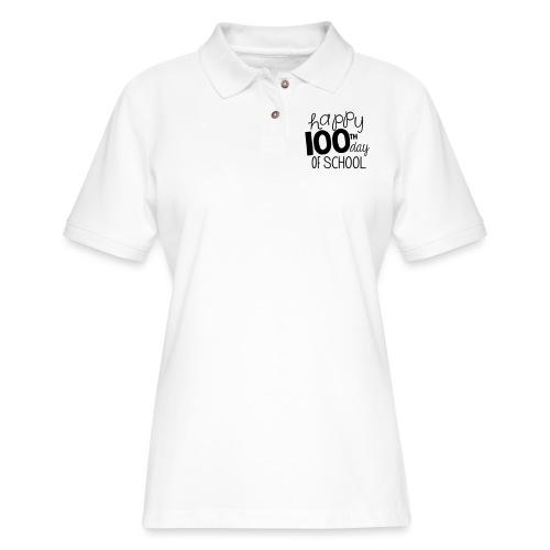Happy 100th Day of School Chalk Teacher T-Shirt - Women's Pique Polo Shirt