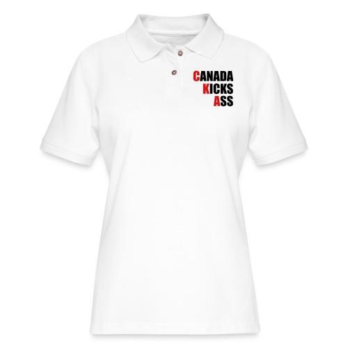 Canada Kicks Ass Vertical - Women's Pique Polo Shirt