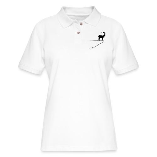 ibex capricorn mountain goat sheep rock climbing - Women's Pique Polo Shirt
