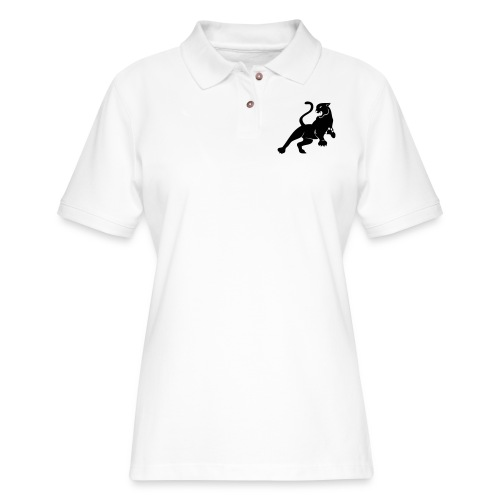 Panther Cat with tail and claws leaps and roars - Women's Pique Polo Shirt