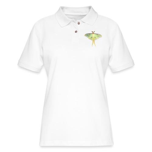 GREEN LUNA MOTH - Women's Pique Polo Shirt