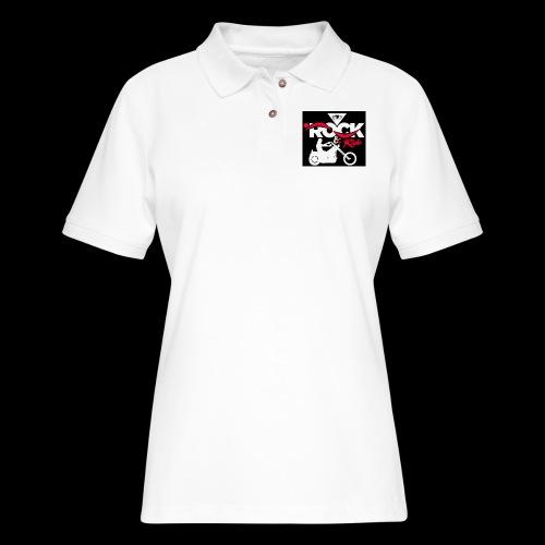 Eye Rock and Ride design black & Red - Women's Pique Polo Shirt