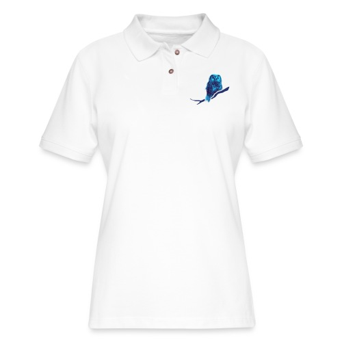 owl bird fowl blue - Women's Pique Polo Shirt