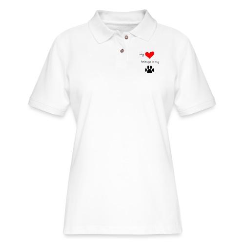 Dog Lovers shirt - My Heart Belongs to my Dog - Women's Pique Polo Shirt