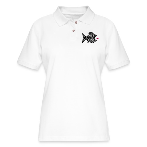 fish swarm comic hunt hunter ocean hunting fishes - Women's Pique Polo Shirt
