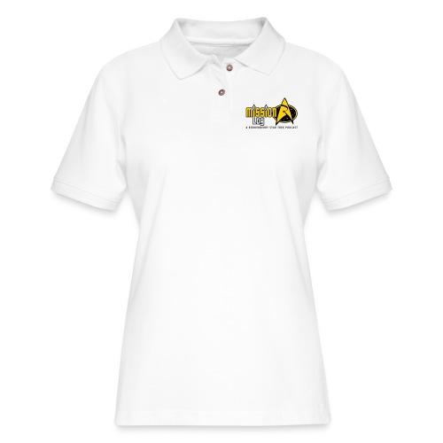 Logo Wide 2 Color Black Text - Women's Pique Polo Shirt