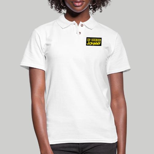 Ol' School Johnny Yellow Text on Black Square - Women's Pique Polo Shirt